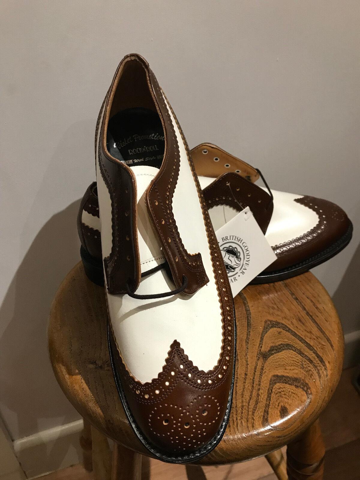 VLV Rockabilly Nuevo Cuero Wing Tip Cuero Calado marrón y blancoo Talla 11