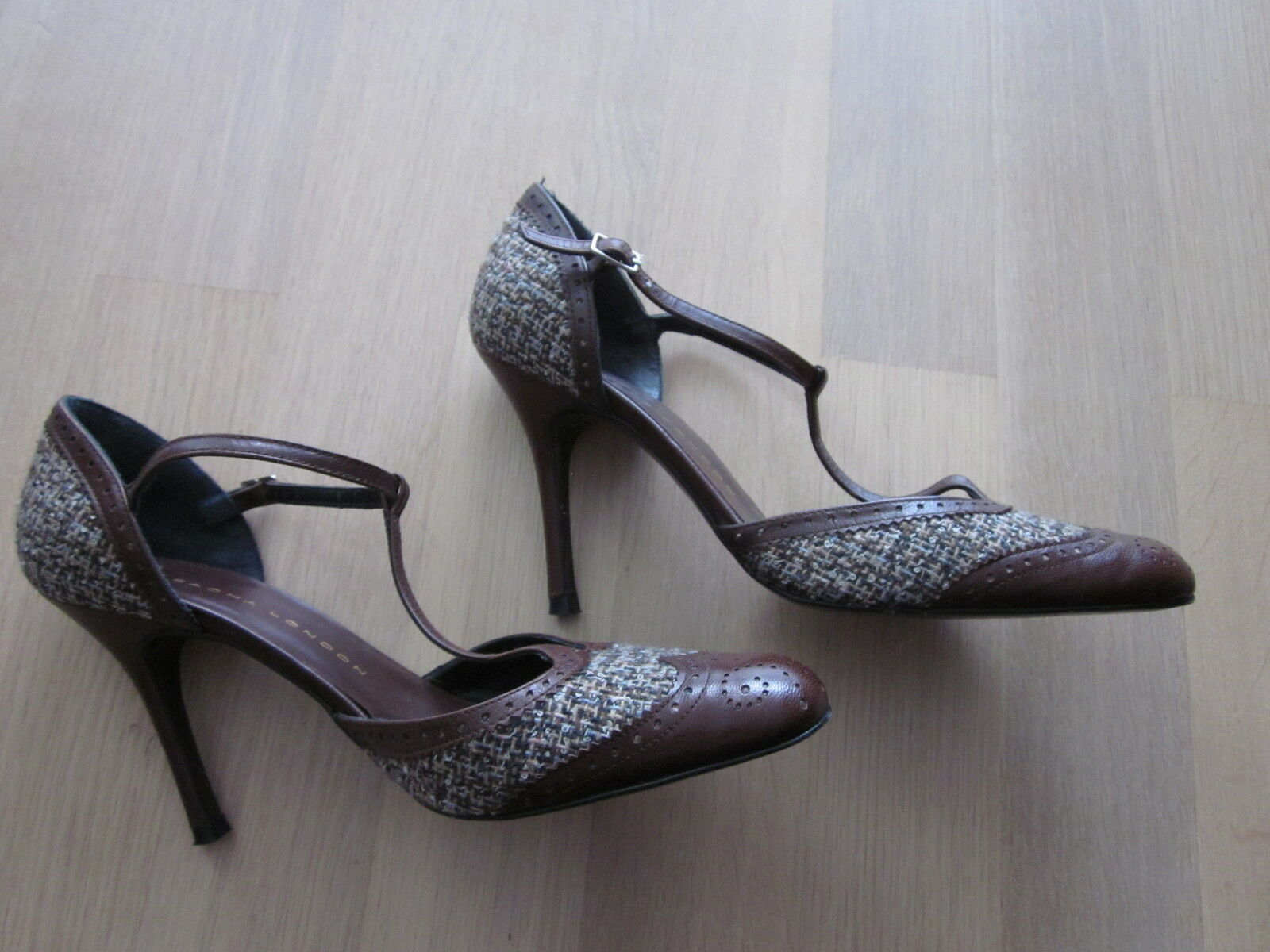 Fesselriemchen Pumps, braun m Textileinsatz, Sacha London, 38, kaum getragen