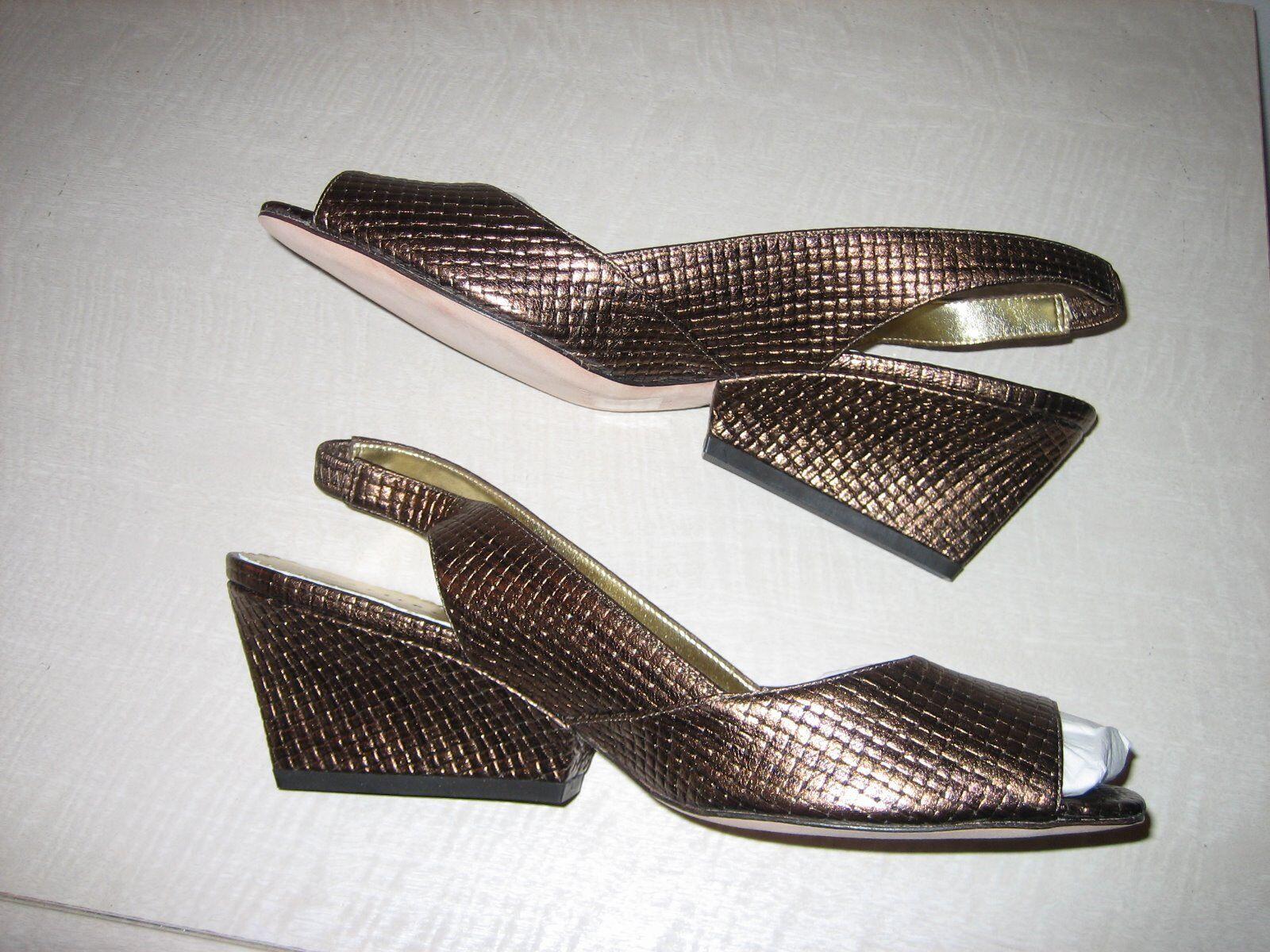 Martinez Valero woven bronze leather contourot wedge - New never been worn