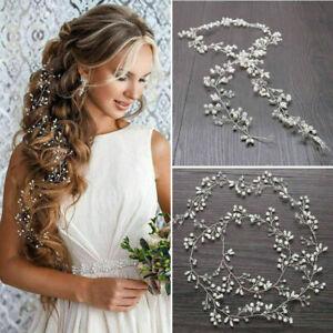 Headpiece-Accessories-Wedding-Hair-Vine-Bridal-Crystal-Pearl-Headband-Long-Chain