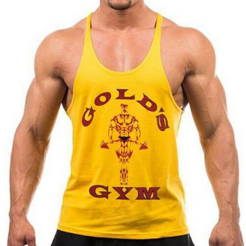 New Golds Gym Men/'s Bodybuilding Stringer Tank Top Muscle Workout Fitness U.S.A.