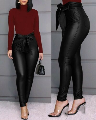 Pantalones De Tiro Alto Para Mujer Cintura Alta Levanta Cola Elegantes Pantalón