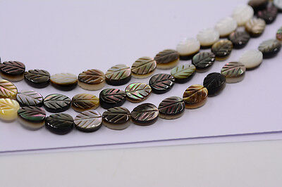 0894 8mm grey shell carved leaf loose beads 15.5""