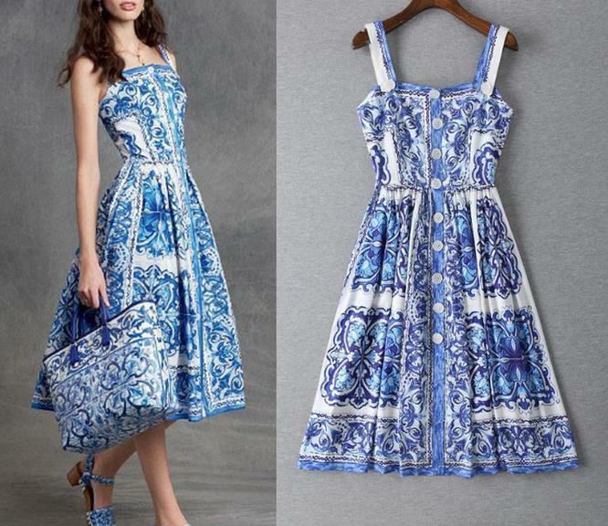 New Womens Vogue Fashion Occident Modern Printed single-breasted belt long dress