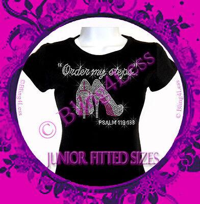 Order my steps - Hot Pink Bottom High Heels - Rhinestone Iron on T-Shirt - Bling
