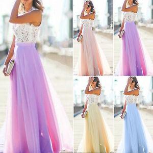 Das Bild wird geladen Damen-Spitze-Abendkleider-Sommer-Maxikleid-Lang-Party- Hochzeit- b13d71e5d3