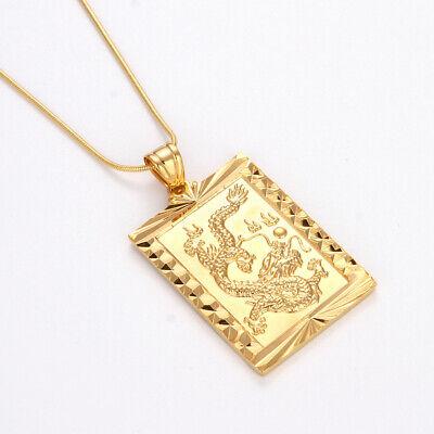 "18K or jaune rempli collier Dragon Pendentif 18/"" Chaîne Link Gold Filled Fashion Jewelry"