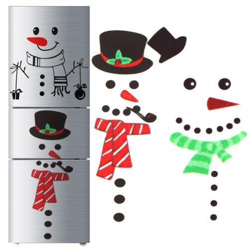 Merry Christmas Snowman Fridge Stickers Kitchen Waterproof Posters Decals