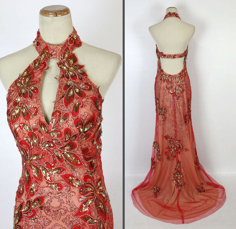 NWT Jovani Size 2 Gown Long Cruise Prom Formal  Red gold Halter Lace NEW