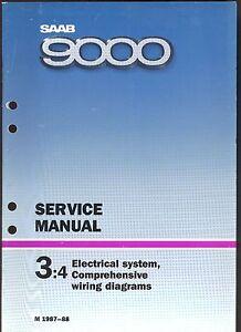 m 1987 88 saab 9000 3 4 electrical system wiring diagram  image is loading m 1987 88 saab 9000 3 4 electrical