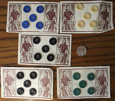 "Vintage buttons 5/8"" UNUSED set of 5 on original card Cream Dark Navy Blue Black"