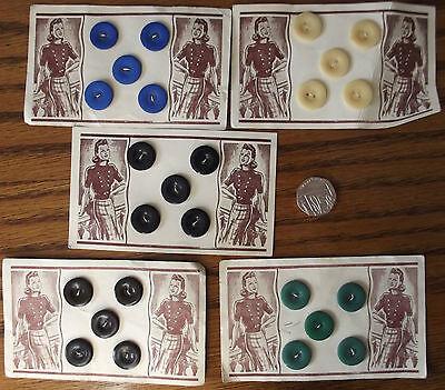 "Vintage buttons 5/8"" UNUSED set of 5 on original card Dark Navy Blue Black"
