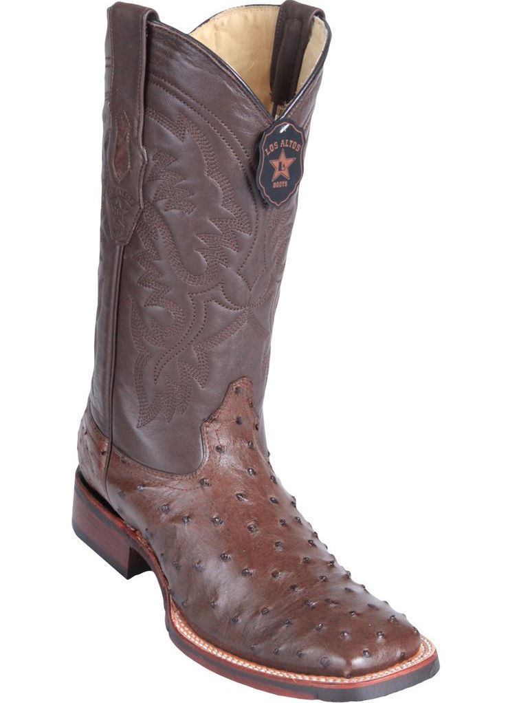 Los Altos BROWN Ostrich Square Toe TPU Rubber Sole Western Cowboy Boot EE