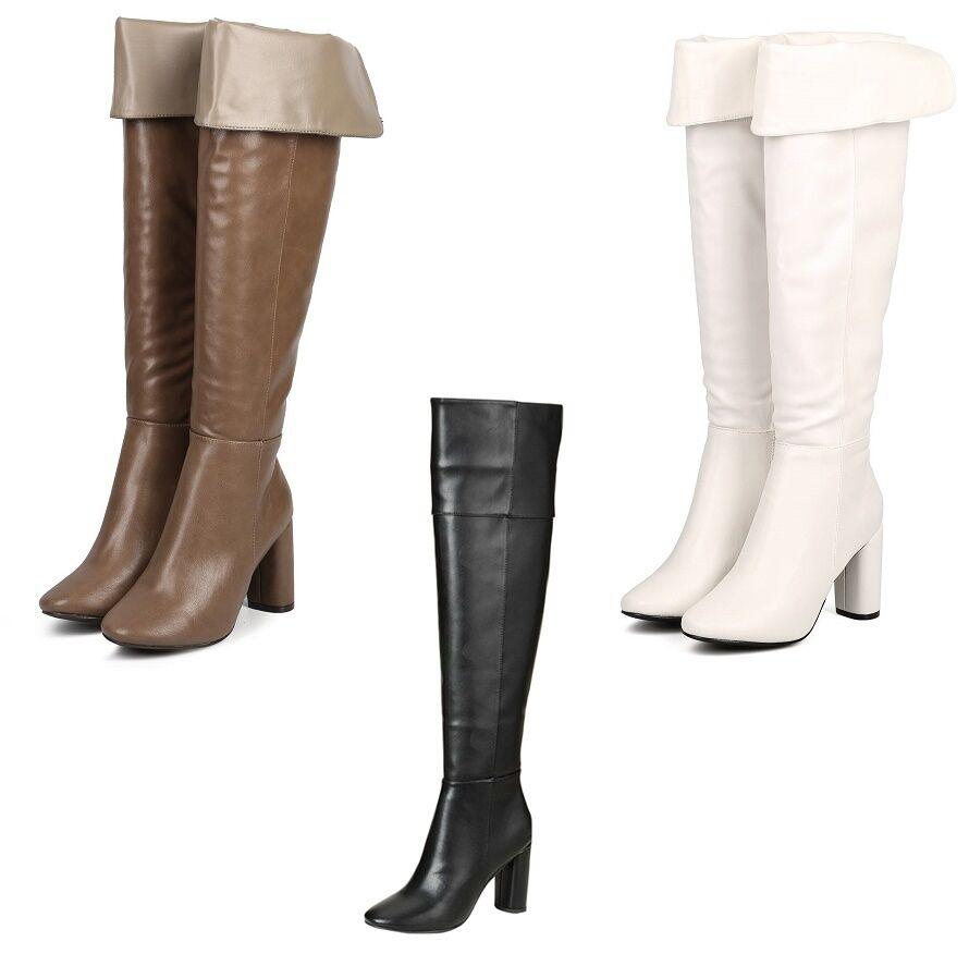 Breckelles Women Leatherette Over The Knee Block Heel Tailored Boot  Linda-22
