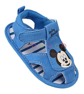 Toddler Baby Boy Blue Mickey Mouse Sandals Pram Shoes Size