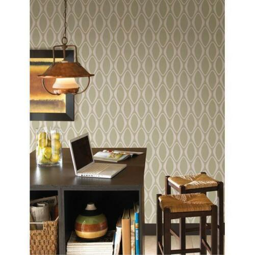 Wallpaper Retro Mid Century Eclipse Brown Oval Geometric Faux Suede Texture