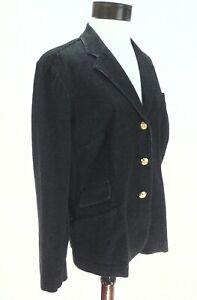 RALPH-LAUREN-Denim-Blazer-LRL-Jacket-Black-w-Gold-Crest-Buttons-Women-039-s-14W-229