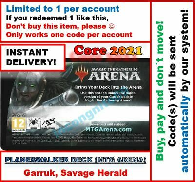 MTGA Arena Core Set 2021 M21 Basri Planeswalker Deck Code FAST 5-MIN EMAIL