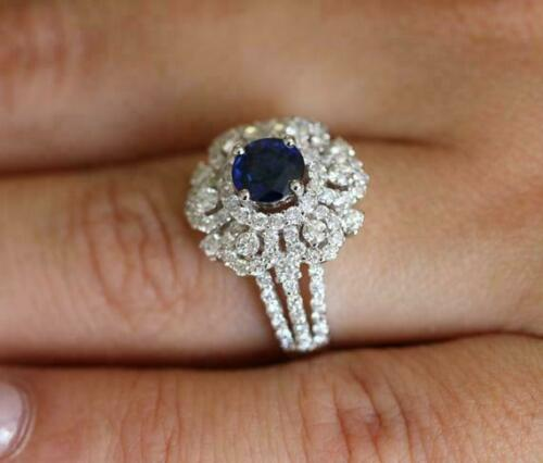 Details about  /2.83Ct Round Blue Sapphire /& Diamond Flower Engagement Ring 14K White Gold Over