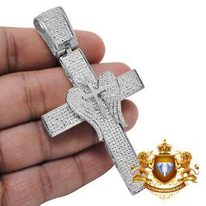 Big 3.5/'/' 14K White Gold Finish Simulated Diamond Jesus Cross Custom Designer Charm Pendent