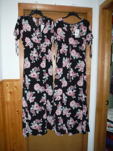 Short Sleeve Maxi Dresses LG,SM,Lily Rose Black Pink Roses 100/% polyester NWT