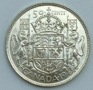 1943-Canadian-50-Cent-Half-Dollar-800-Silver-Lustre-Remains-Die-Cracks-MP185