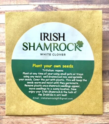 Irish Clover  seeds  with free complimentary irish blessing bookmark .