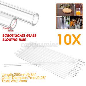 10Pcs-250mm-OD-7mm-2mm-Thick-Lab-Tube-Glass-Wall-Borosilicate-Blowing
