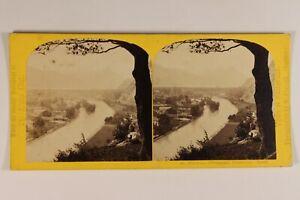 Suisse Unterseen Panorama c1865 Foto W.Inghilterra Stereo Vintage Albumina