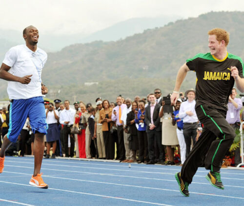 Prince Harry and Usain Bolt UNSIGNED photo D358