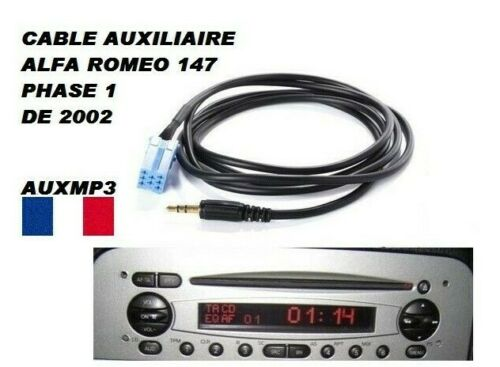 Cable Adapter AUX Auxiliary Car Stereo Jack Alfa Romeo 147 2002 Phase 1