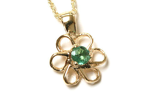 """9ct Gold Emerald Daisy Pendant Necklace and 18/"""" Chain Made in UK Gift Boxed"""