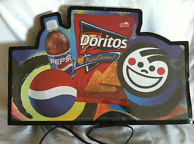 Pepsi Cola & Doritos lighted indoor convenient store Advertising Sign 2001