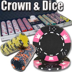 NEW 500 Crown /& Dice 14 Gram Clay Poker Chips Black Aluminum Case Set Pick Chips
