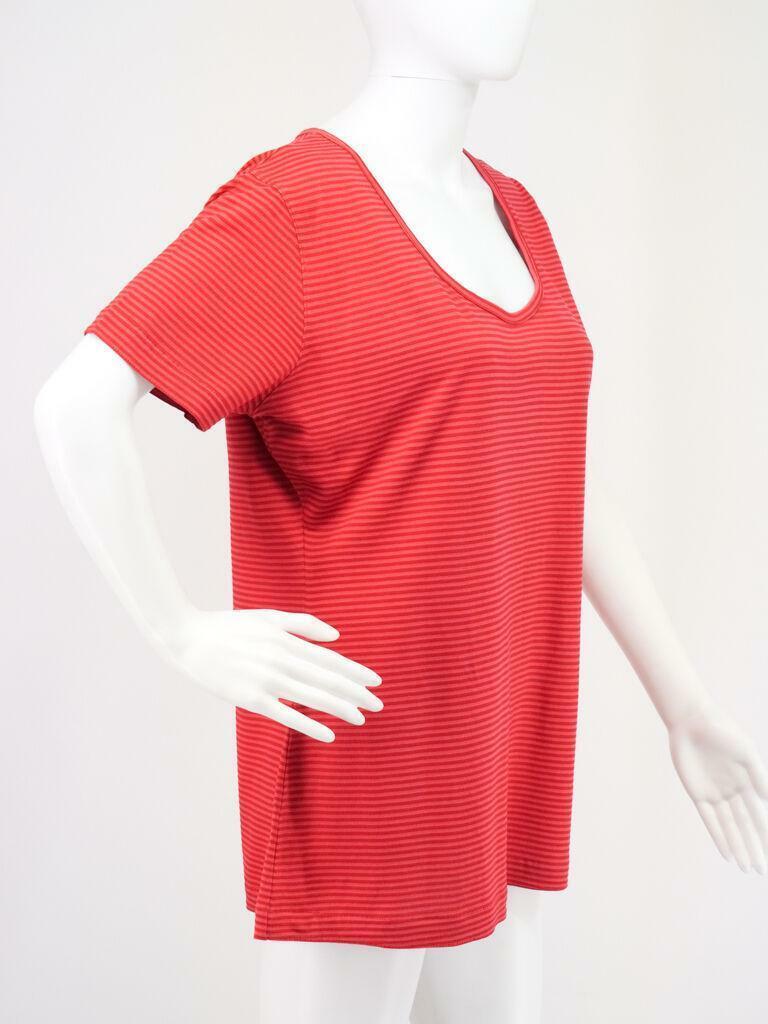 Leichte Long Tunika rot gestreift L von Cut Loose Design Plus Größe Top Oberteil