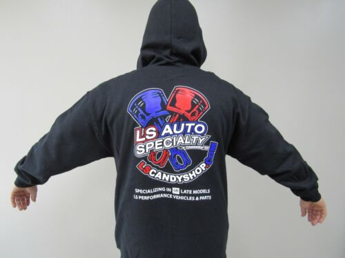 LS Auto Specialty BLACK Hooded Sweatshirt ZIPPER Hoodie w full color logos