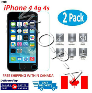 Fits-iPhone-4-4G-4S-PremiumTempered-Glass-Screen-Protector-Canada-2-PACK