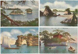 4-Views-of-Matsushima-Bay-Islands-1920s-Japanese-Color-Postcards