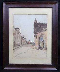 Henri-Linguet-1881-1914-Born-in-Paris-Landschaft-Rue-Belebt-Museum-D-039-Auxerre