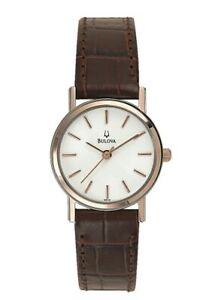 Bulova Classic Women's Quartz Rose Gold Accents Brown Leather 25mm Watch 98V31