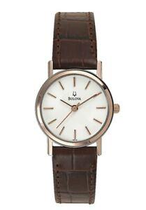 Bulova Classic Women's Quartz Rose Gold Accents Brown Leather 25mm Watch 98V31