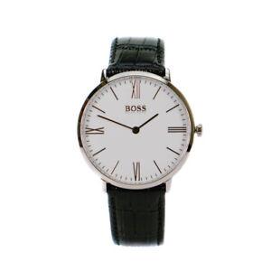 953bba1912d5 La foto se está cargando Reloj-De-Cuero-Negro-para-Hombre-Hugo-Boss-