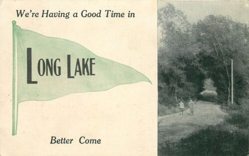 """Having a Good Time"" in Long Lake WisconsinCouple on Road1912 Pennant Postcard"