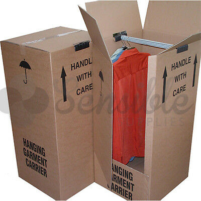 10 x STRONG EXTRA LARGE WARDROBE REMOVAL MOVING CARTONS BOXES WITH HANGING RAILS