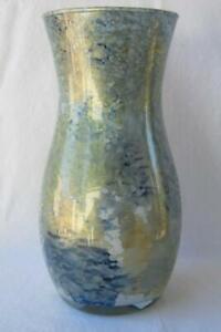 Italian Art Glass Vase Franco Italy Gold with Blue No 452