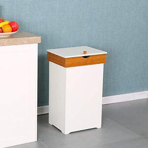 wastebasket wood trash bin with lid kitchen trash can garbage can 13 gallon ebay. Black Bedroom Furniture Sets. Home Design Ideas