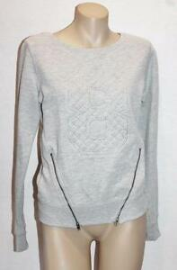 Free-Fusion-Brand-Grey-Crew-Neck-Zips-Long-Sleeve-Sweater-Top-Size-4-BNWT-SQ18
