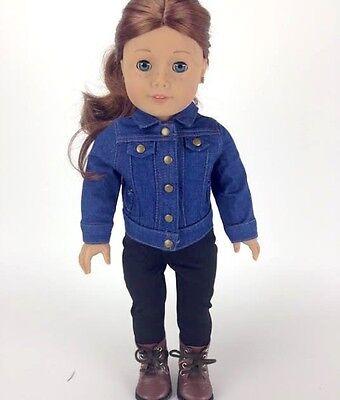 """18/"""" Dolls Black Faux Leather Jacket Fits American Girl Doll Boy Logan!"""