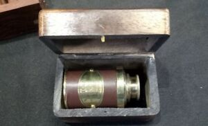 BRASS TELESCOPE WITH WOODEN BOX. VICTORIAN MARINE SPYGLASS WITH LEATHER FINISH