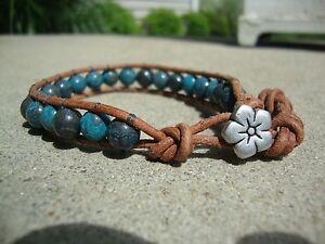 Details About Leather Bead Wrap Bracelet 8mm Blue Sky Ser Gemstones Boho Chic Handmade